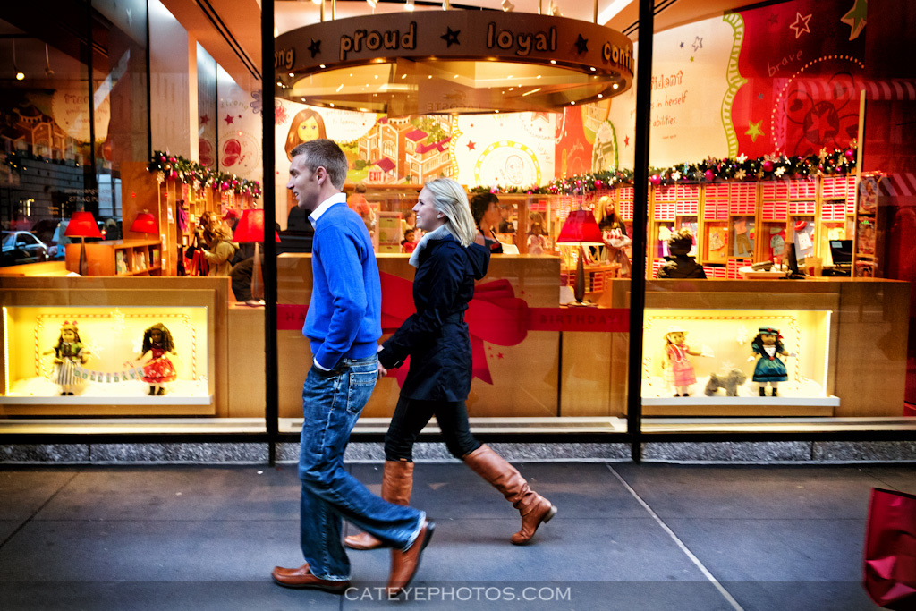 Holiday season, christmas time engagement session in new york city