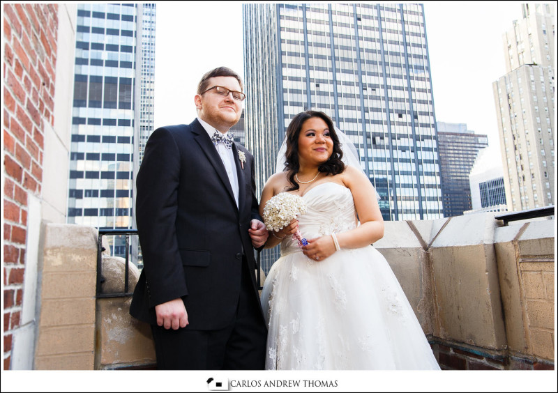 wedding couple on nyc hotel balcony