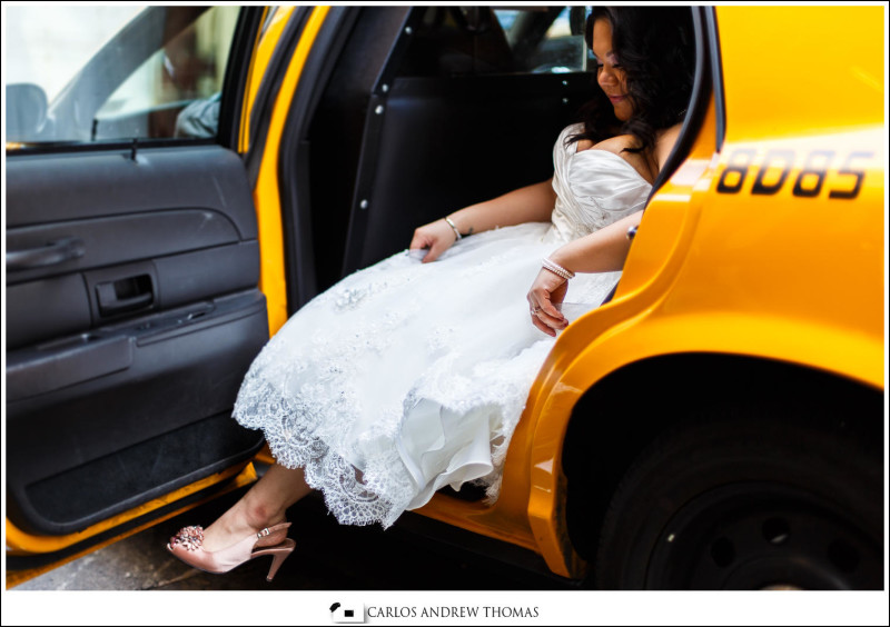 bride and taxi, new york city