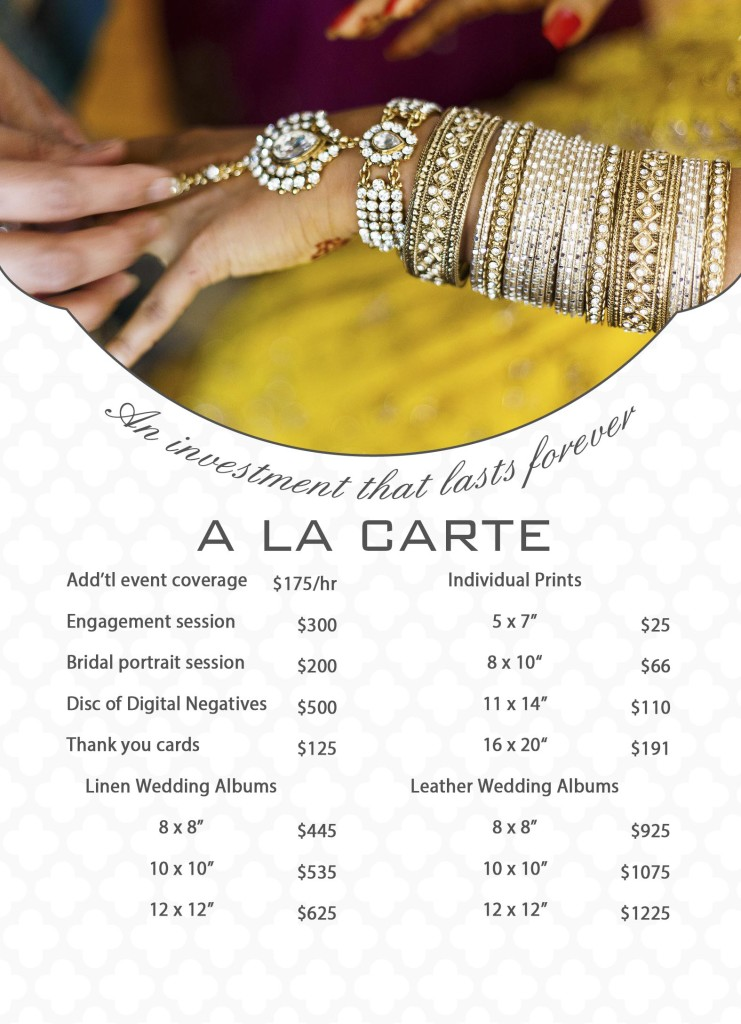 Price List - A La Carte